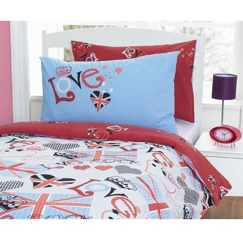 Punk Rocker Love Union Jack Reversible Single Bed Duvet Cover Quilt Bedding Set