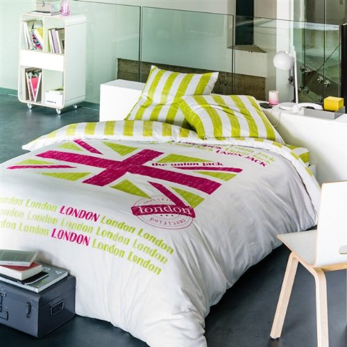 Union jack pink green white duvet cover and pillowcase set for Pink union jack bedding